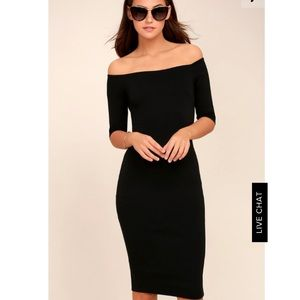 Black midi off shoulder dress